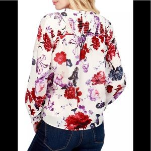 Lucky Brand Smocked Sheer Floral-Print Blouse Top